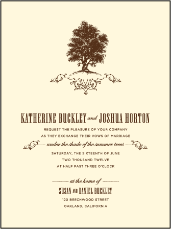 Under the Tree Letterpress Invitation Design Medium