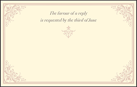 Victorian Elegance Letterpress Reply Postcard Front Design Medium