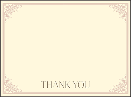 Victorian Elegance Letterpress Thank You Card Flat Design Medium