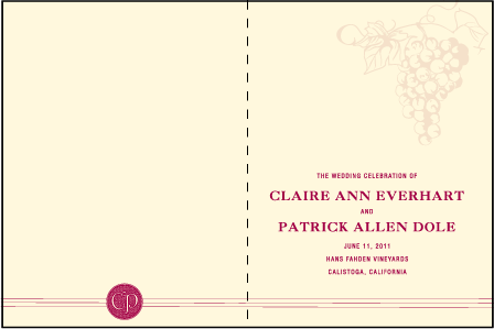 Vineyard Letterpress Program Design Medium