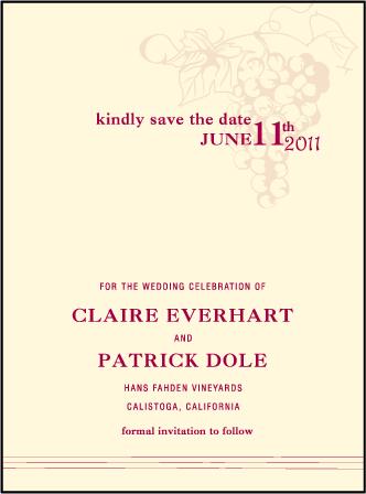 Vineyard Letterpress Save The Date Design Medium