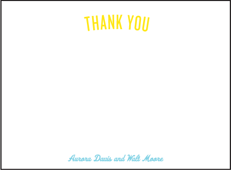 Vintage Beach Letterpress Thank You Card Flat Design Medium