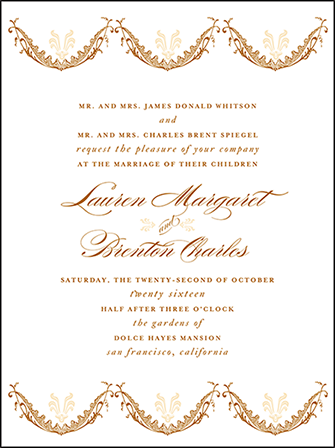 Vintage Garland Letterpress Invitation Design Medium
