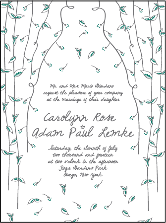 Vintage Leaves Letterpress Invitation Design Medium