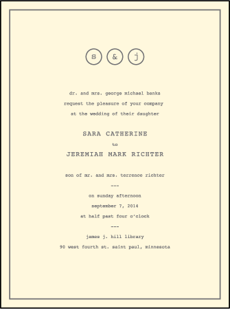 Vintage Librarie Letterpress Invitation Design Medium