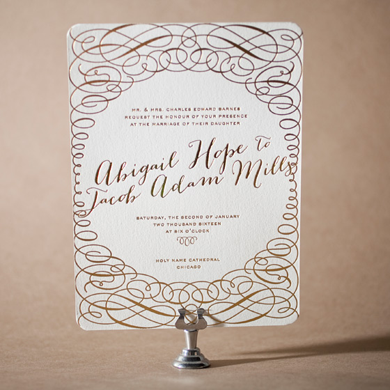 Ainsley Letterpress Invitation Design Small