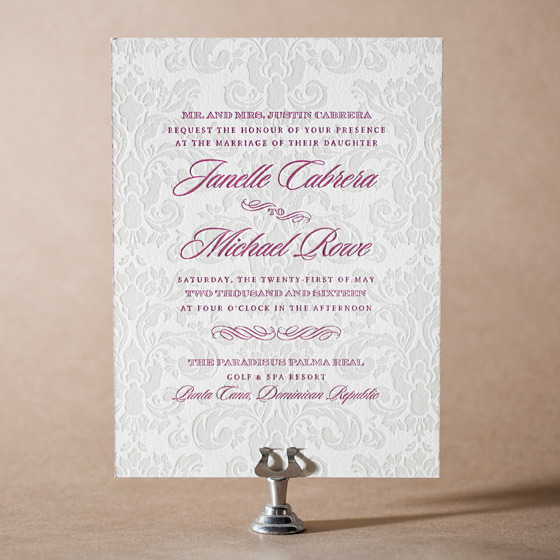 Augustine Damask Letterpress Invitation Design Small