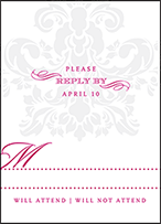 Augustine Damask Letterpress Reply Design Small