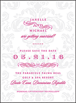 Augustine Damask Letterpress Save The Date Design Small