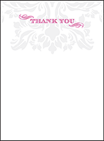 Augustine Damask Letterpress Thank You Card Flat Design Small