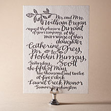 Balsam Calligraphy Letterpress Invitation Design Small
