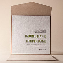 Bleecker Modern Letterpress Invitation Design Small