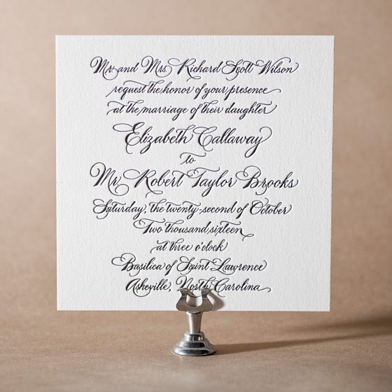 Callaway Letterpress Invitation Design Small