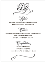 Callaway Letterpress Menu Design Small
