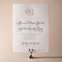 Calligraphy Monogram Letterpress Invitation Design Small