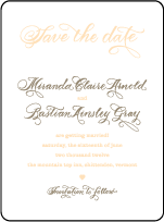 Calligraphy Monogram Letterpress Save The Date Design Small