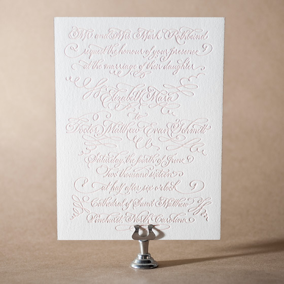 Carolina Letterpress Invitation Design Small
