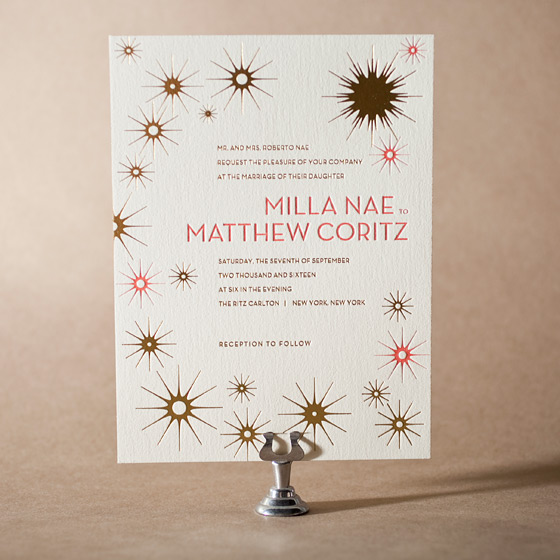 Celeste Letterpress Invitation Design Small