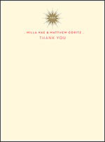 Celeste Letterpress Thank You Card Flat Design Small