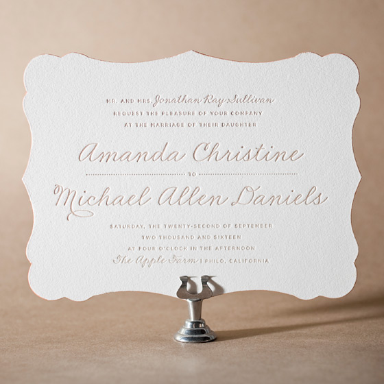 Charlotte Letterpress Invitation Design Small