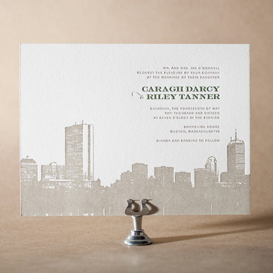 Charmed Boston Letterpress Invitation Design Small
