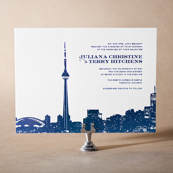 Charmed Toronto Letterpress Invitation Design Small