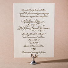 Classic Calligraphy Letterpress Invitation Design Small