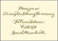 Classic Calligraphy Letterpress Reception Design Small