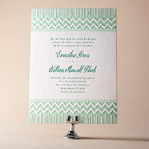 Classic Chevron Letterpress Invitation Design Small
