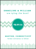 Classic Chevron Letterpress Save The Date Design Small