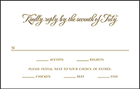 Classic Manhattan Letterpress Reply Postcard Front Design Small