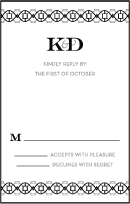 Classic Monogram Letterpress Reply Postcard Front Design Small