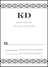 Classic Monogram Letterpress Reply Design Small