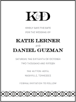 Classic Monogram Letterpress Save The Date Design Small