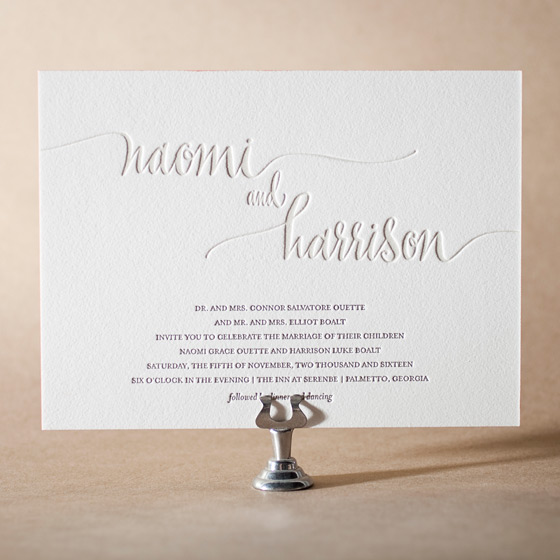 Colette Letterpress Invitation Design Small