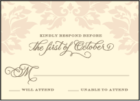 Damask Letterpress Reply Design Small