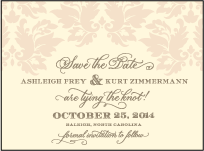 Damask Letterpress Save The Date Design Small