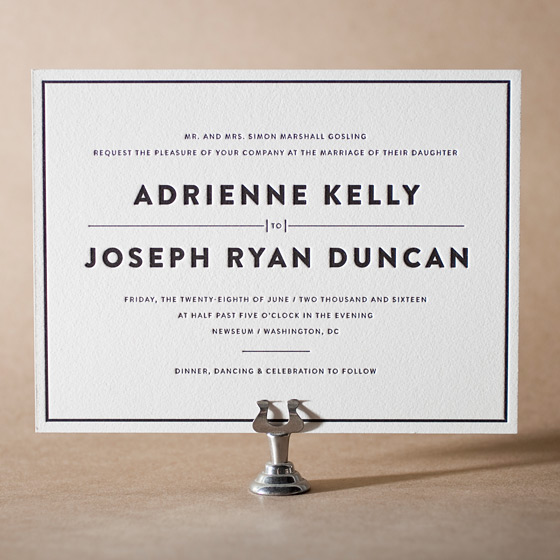 Duncan Letterpress Invitation Design Small