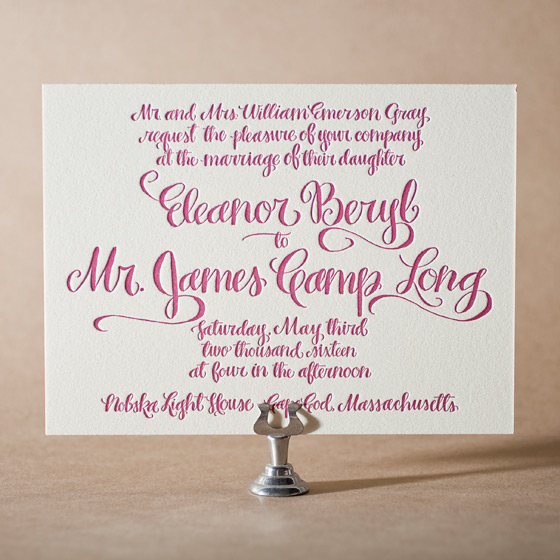 Eleanor Letterpress Invitation Design Small