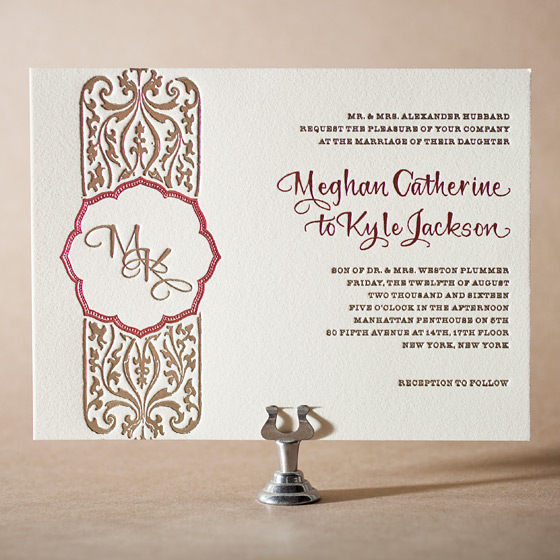 Elegant Monogram Letterpress Invitation Design Small