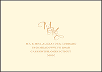 Elegant Monogram Letterpress Reply Envelope Design Small