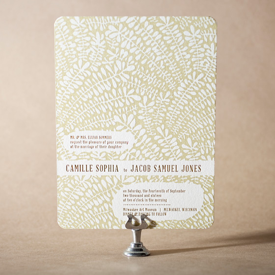 Fidelia Letterpress Invitation Design Small