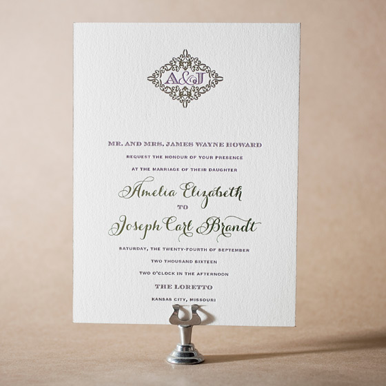 Filigree Letterpress Invitation Design Small