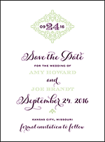 Filigree Letterpress Save The Date Design Small