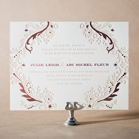 Fleur Letterpress Invitation Design Small