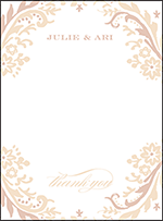 Fleur Letterpress Thank You Card Flat Design Small