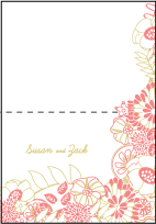 Floral Wreath Letterpress Thank You Card Fold Design Small