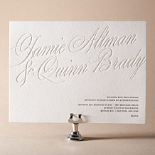Florian Script Letterpress Invitation Design Small