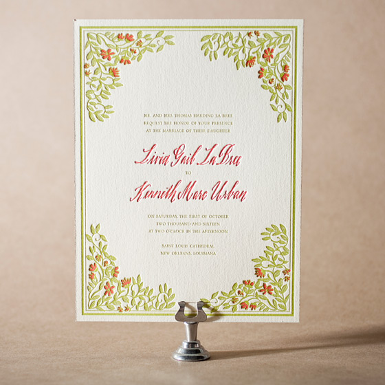 French Quarter Letterpress Invitation Design Small