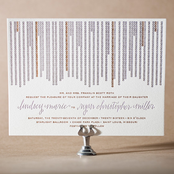 Glitterati Letterpress Invitation Design Small